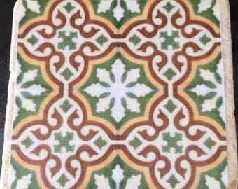 Single moroccan travertine stone coasters- Handmade