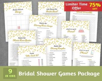 9 Bridal Shower Games Bundle, Gold Black, Wedding Shower Games Package, Instant Download, Games Set, Bachelorette Games Pack, BSPKG, A004
