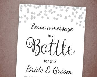 Message In A Bottle Printable Sign, Wedding Shower Signage, Silver Confetti, Wedding Guest Book Sign, Minimalist, Instant Download, A003