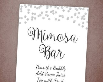 Mimosa Bar Sign Printable, Bubbly Bar Sign, Cocktail Drink Sign, Silver Confetti Wedding Sign, Baby Shower Games, Bridal Shower Decor, A003