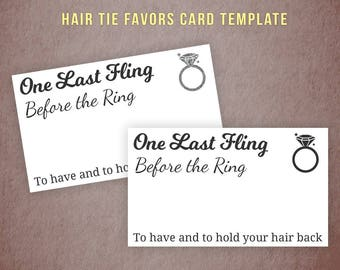 Hair Tie Favors Card Template, To Have and To Hold Your Hair Back, Printable Hair Band Cards, Bridal Shower, Bachelorette Party Favors