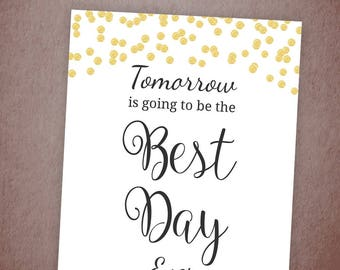 Best Day Ever Sign Printable, Gold Confetti Bridal Shower Sign, Wedding Welcome Sign, Anniversary, Party Decorations, Rehearsal Dinner, A001