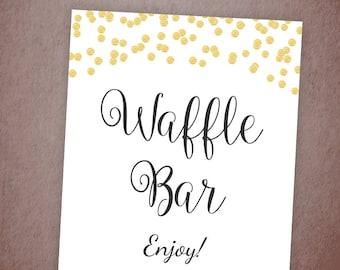 Waffle Bar Sign, Gold Dessert Table Sign Printable, Wedding Decorations, Bridal Shower, Brunch Sign, DIY Wedding Dessert Sign, A001
