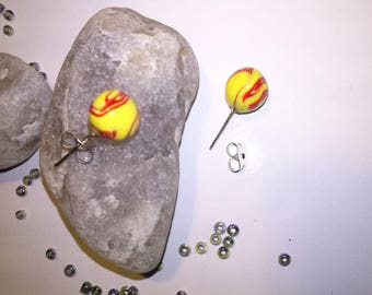 Earrings with red and yellow beads