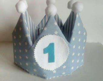 birthday crown, fabric crown, handmade crown, handmade crown, customized gift, Leisec, birthday party, padded crown