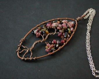 Bronze tree of life coloured stones Pendant Necklace