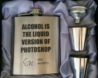 Alcohol is Liquid Version of Photoshop Flask // Engraved Flask // His Gift  // Fun Flask // Party Favor // Men Flask // 21st Birthday Gift