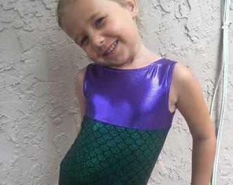 Girls Mermaid Leotard / Swim suit, girls gymnastics leotard, greem mermaid leotard, mermaid swim, mermaid leotard, green, dance, child