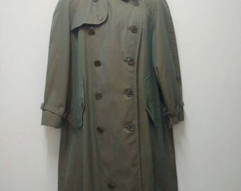 Vintage BURBERRYS Trench Coat Classic Prorsum Trenchcoat Green Brownish Color Armpit 24''x43.5''