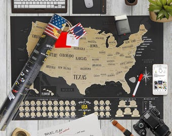 Full Color Deluxe Black Scratch Off Map United States, USA Map, Scratch Map Usa World map, Travel map US, America map, Push pin map World