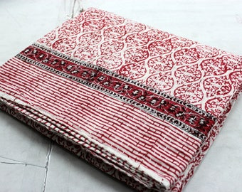 Hand made kantha quilt vintage twin size throw hand stitched Mughal Red print kantha bedcover