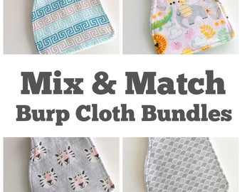 Burp Cloth Bundle - Baby Burp Cloths - Mix and Match - Spit Up Cloths - Flannelette Burp Cloths - Newborn Feeding Essential - New Baby Gift