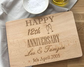Anniversary Laser Engraved Personalised Chopping Board | Wedding Gifts