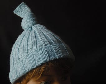 Knitted Pale Blue Knot Beanie