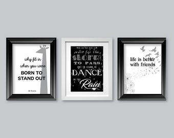 digital poster downloads, wall art x 4 posters,