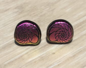 Dichroic Fused Glass Stud Earrings - Pink Yellow Nautilus Shell Laser Engraved Etched Studs with Solid Sterling Posts