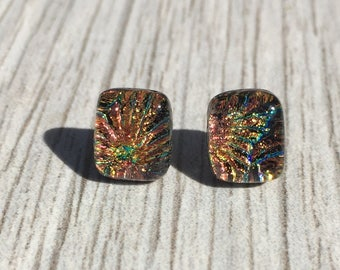 Dichroic Fused Glass Stud Earrings -Orange Starburst Texture Dichroic Studs with Sterling Silver Post Backs