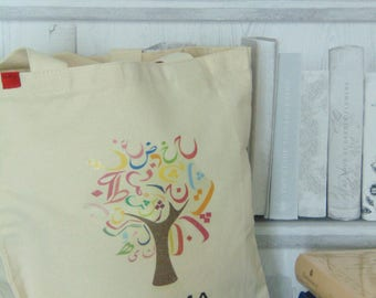 arabic tree tote bag personalised