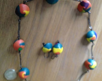 Funky festival necklace set, Bright colours, Colourful, Green,orange,multi, Necklace and earrings, Summer, Rainbow, Polymer clay and chain,