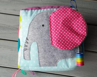 AMBROSE elephant CUBE, Soft Baby Cube, Activity, Sensory, Play Cube, Fabric Block, Elephant, Rainbow, Mirror, Baby Shower