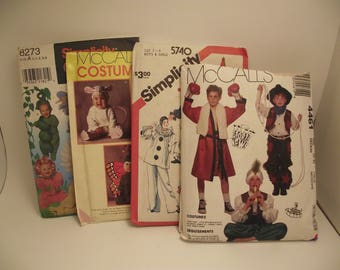 Vintage Halloween Children's Costumes Sewing Patterns lot of 4 clowns