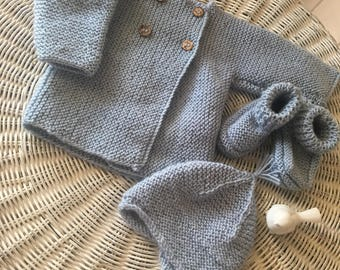 Newborn boy 100% merino wool knitted cardigan, booties & beanie