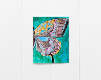 6 Butterfly Notecard/Butterfly Thank You Notes/Watercolor Butterfly/Butterfly Greeting/Just Because/Blank Notecards/Thinking of You