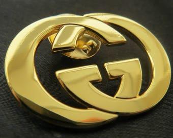 Goldtone Gucci Staff Brooch Lapel Pin for Bag Badge Logo Designer Jewelry