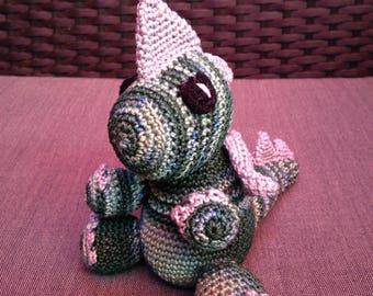 Green and Grey Crochet Dragon