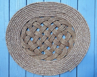 Traditionally Crafted Sailor Mat - Extended Ocean Plait with Flemish Coil