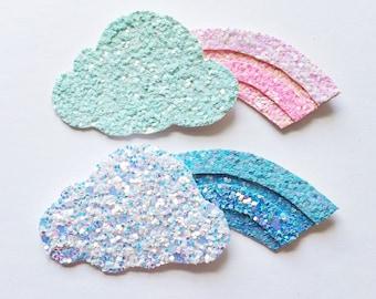 Glitter rainbow hair clip OR headband