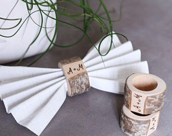 Personalized wedding napkin rings, Rustic napkin rings, Initial napkin rings, Napkin rings, Wooden napkin rings, Rustic wedding table decor