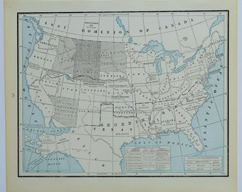United States Antique Map Vintage US Map US History - 1888 us map
