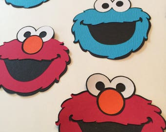 Set of 8 elmo and Cookie Monster die cuts