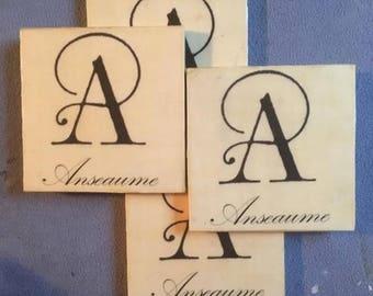 Tile Monogram set of 4 Coasters