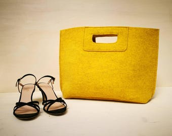Casual elegant acid yellow bag, felt bag, week end bag, hand bag, Italian bag,  yellow shopper, shopping bag, hand made in Italy, BeFeltBag