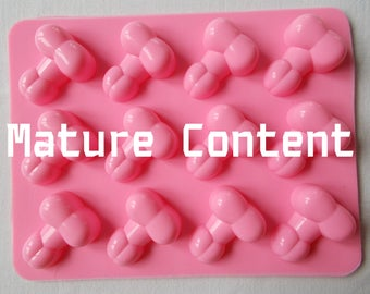 Silicone Pecker Ice Cube Tray Mold Candy Soap Jello Shots Cake Pops Makes 12 Bachelorette Party Bridal Shower Mature Penis Adult Gay