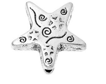SET of 5 fancy silver 14mm (F42) Star bead charm