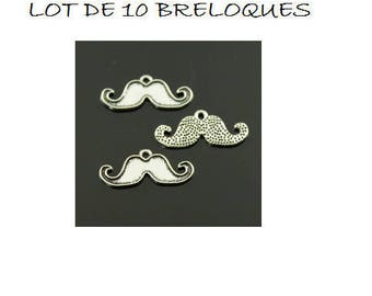 Set of 10 mustache man (C20) silver boy charms
