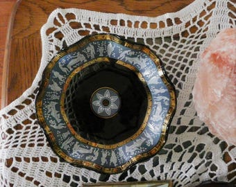 Cera Glass Etruscan Frieze Ruffle Bowl Rare
