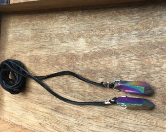 Rainbow Titanium Quartz Point Wrap Suede Necklaces