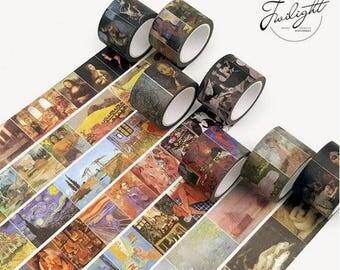 Van Gogh Monet Leonardo da Vinci Painting Washi Tape ~ Mona Lisa, The Starry Night, Bedroon in Arles, Decorative Masking Tape, Scrapbooking