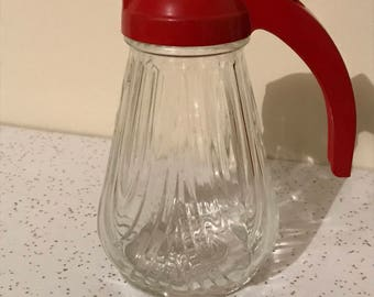 Vintage Glass Syrup Server with Red Plastic Lid