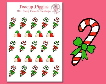 Teacup Candy Canes and Gumdrops Planner Stickers - Mini Planner Stickers - Christmas Stickers - Holiday Stickers - Holiday Treats - [513]