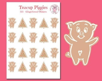 Teacup Piggies - Gingerbread Oinkers - Mini Planner Stickers - Christmas Stickers - Holiday Baking - Christmas Cookies Stickers - [515]