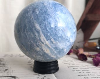 Large Blue Calcite Crystal Ball Sphere
