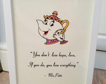 Disney Mrs Potts Chip Beauty & the Beast Vintage Style A4 Quote Print Art Unframed Ideal Gift Nursery Birthday Christening