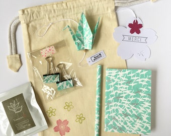 Pouch green washi in white and silver cranes stationery to say thank you