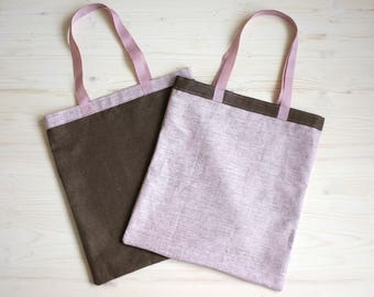 Canvas Bags Set, Reusable Bag Linen Canvas Bag, Linen Tote, Tote Bag, Grocery Bag, Canvas Bag, Large Tote Bag, Brown Canvas Tote, Eco Bag