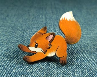 Funny fox pin. Running fox brooch. Red fox gift. Cute fox pin badges. Fox Jewellery. Fox lover gift. Animal pins.